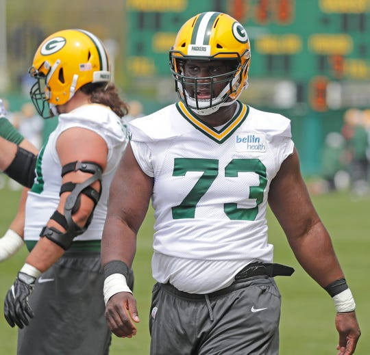 Green Bay Packers offensive lineman Yosh Nijman (73) during practice at Clarke Hinkle Field on Tuesday, May 21, 2019 in Ashwaubenon, Wis.