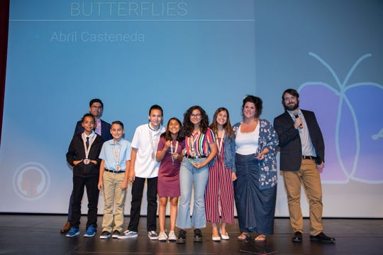 Palm Springs Unified School District students pose with their Digicom awards in recognition of their short films