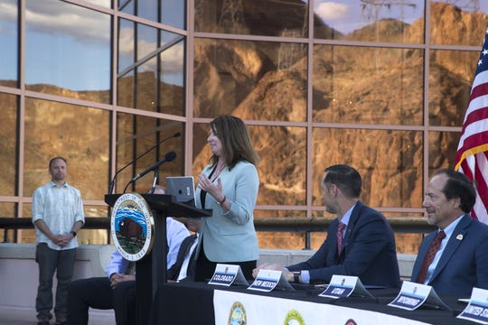 Brenda Burman, commissioner of the U.S. Bureau of Reclamation, speaks before the signing the Colorado River Drought Contingency Plan, May 20, 2019, at Hoover Dam.