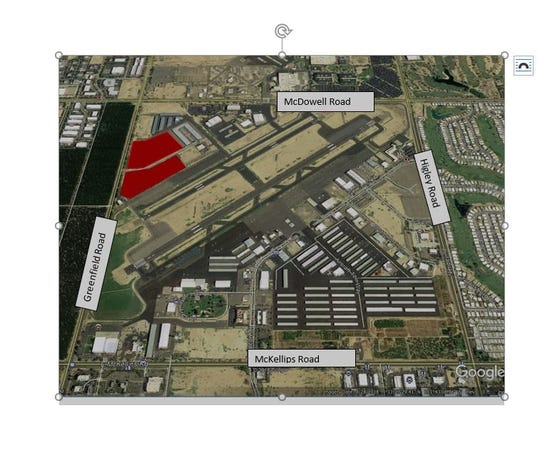 The latest area to be developed at Mesa's Falcon Field is depicted in red.