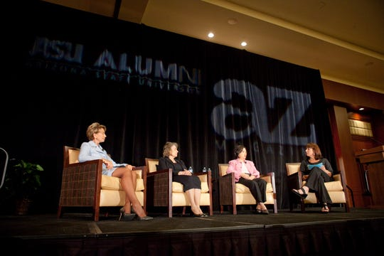 "From left, Barbara Barrett, Linda Hunt, Luz Sarmina and Karina Bland talk on stage at the ""Live to Give"" breakfast at the Sheraton in downtown Phoenix, on Tuesday, June 22, 2010. The breakfast was sponsored by the ASU Alumni Association and AZ Magazine."