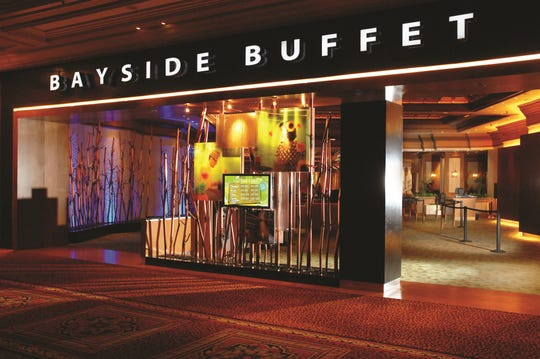 The Mandalay Bay Bayside Buffet dining room is positioned to give guests views of its Tropical Water Garden.