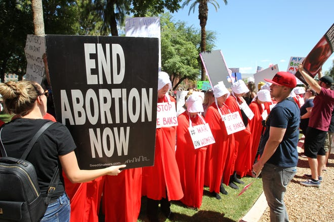 Abortions rights protesters gather at the state Capitol in Phoenix on May 21, 2019.