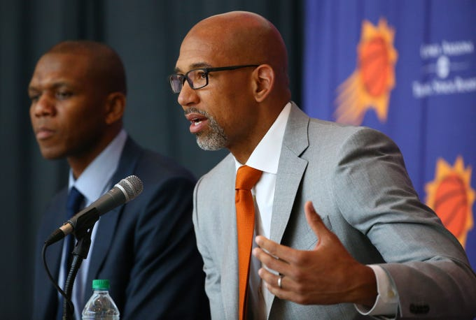 Monty Williams was introduced as the new head coach of the Phoenix Suns during a news conference on May 21 at Talking Stick Resort Arena.