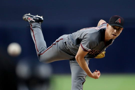 Arizona Diamondbacks starting pitcher Luke Weaver works against a San Diego Padres batter during the first inning of a baseball game Monday, May 20, 2019, in San Diego.