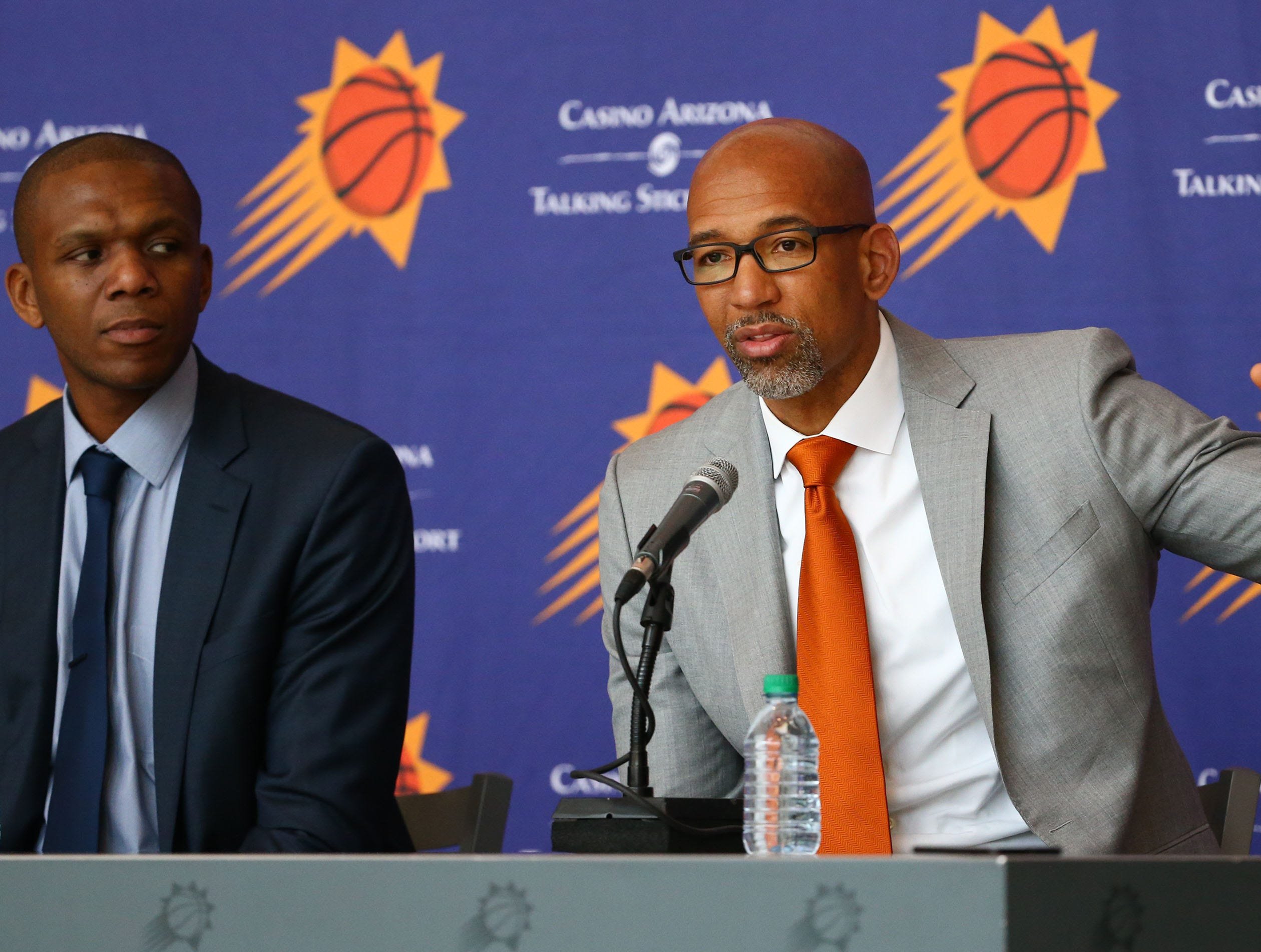 Monty Williams speaks during his introductory news conference on May 21.