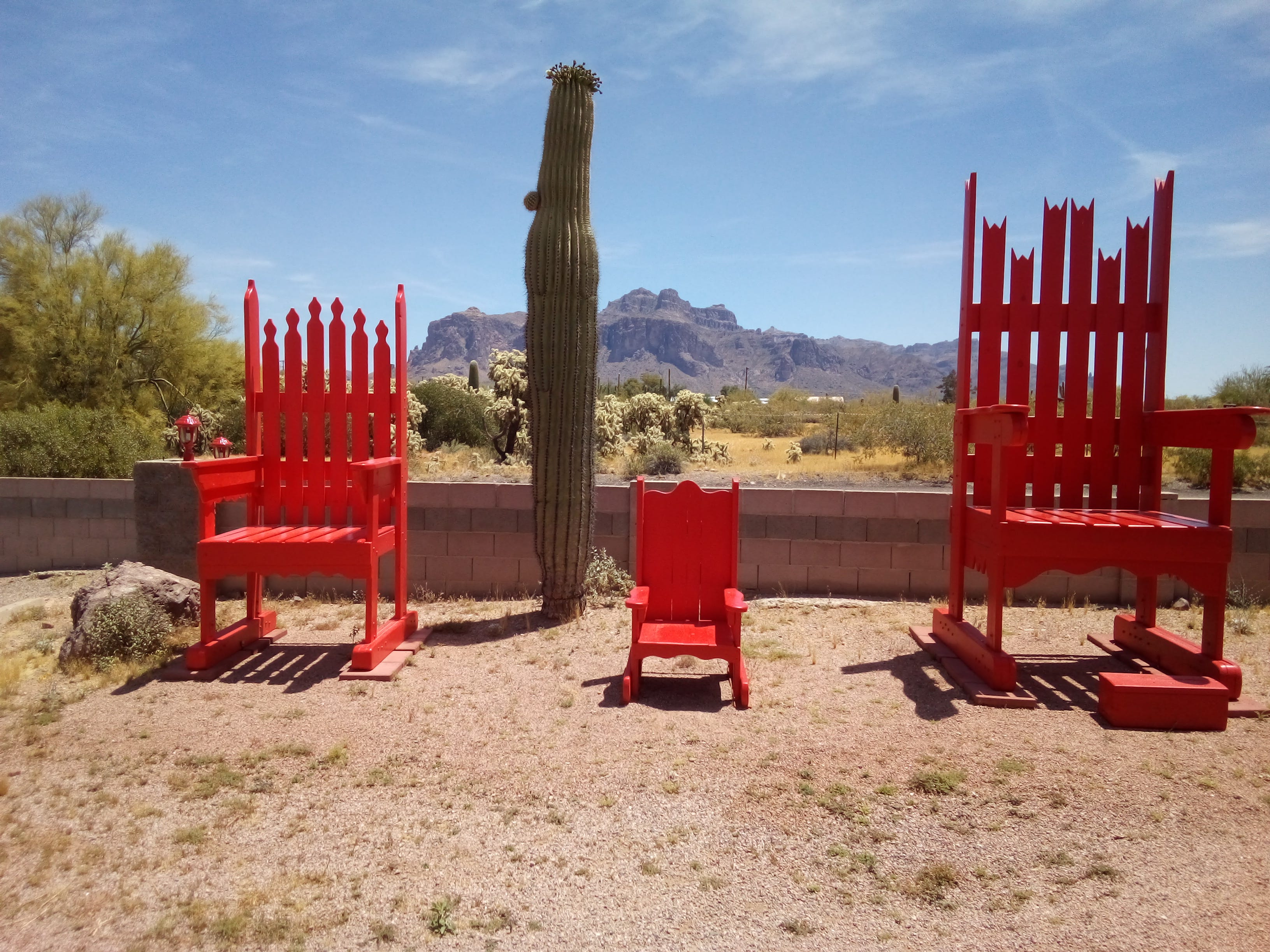 A beautiful spring day and the three bears chairs in apache junction.