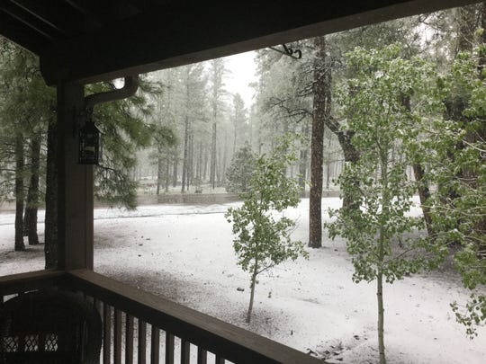 Snow on the ground in Pinetop-Lakeside on May 20, 2019.
