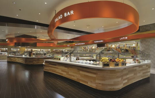 The salad bar at Aria's buffet.
