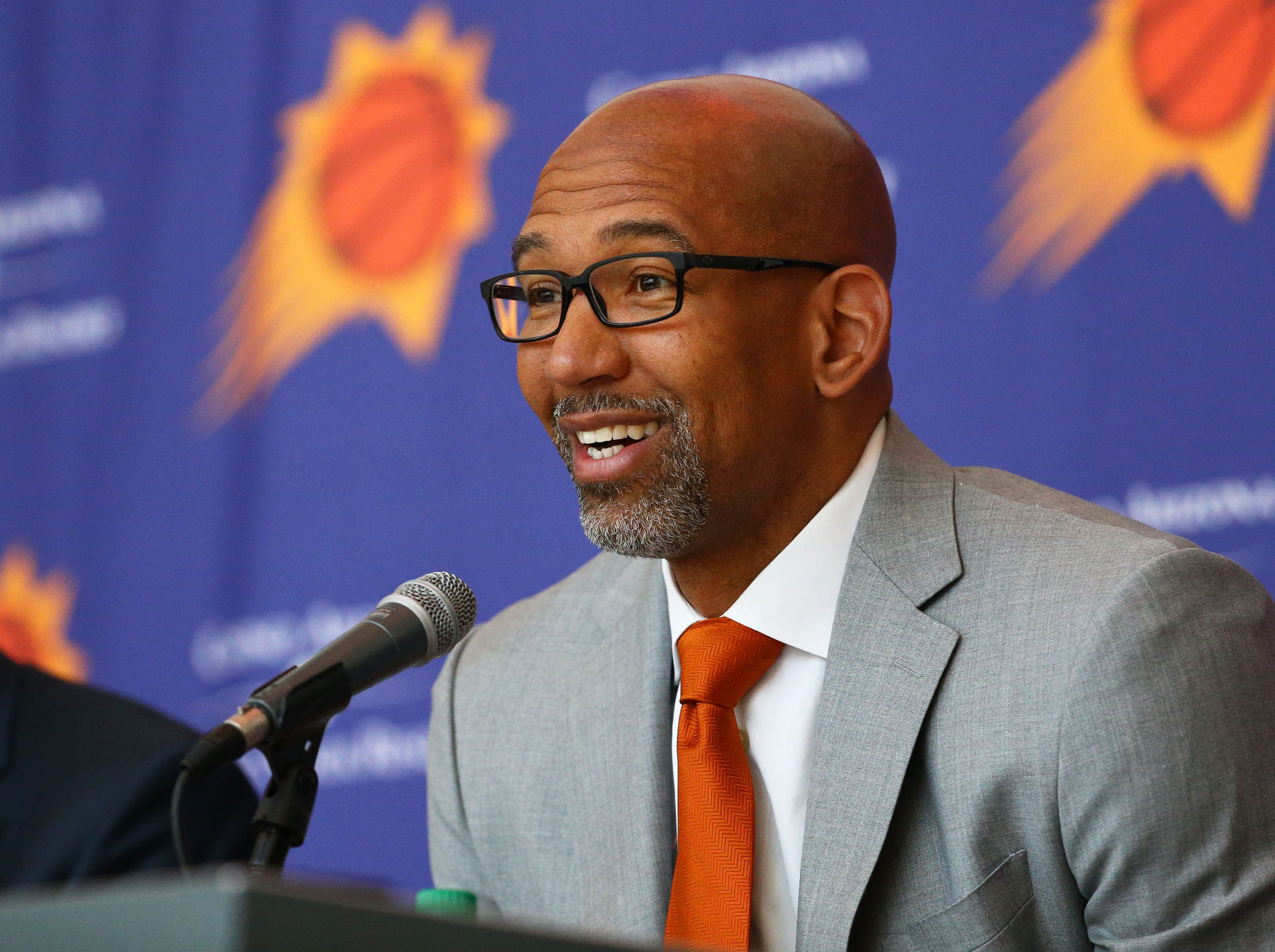 Monty Williams answers questions at his introductory news conference on May 21 Talking Stick Resort Arena.