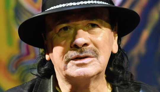 "Carlos Santana speaks during a listening event for his upcoming album ""Africa Speaks"" featuring singer Buika at the House of Blues Las Vegas on May 14, 2019."