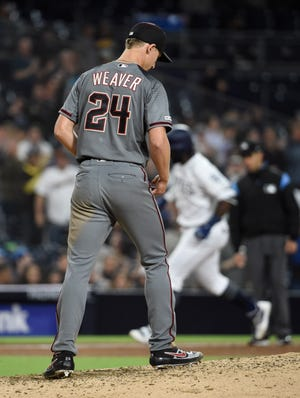 Luke Weaver stands on the mound after giving up a two-run home run to Franmil Reyes on Monday.