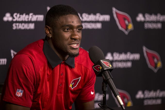 Cardinals safety Deionte Thompson speaks during a news conference on May 9.