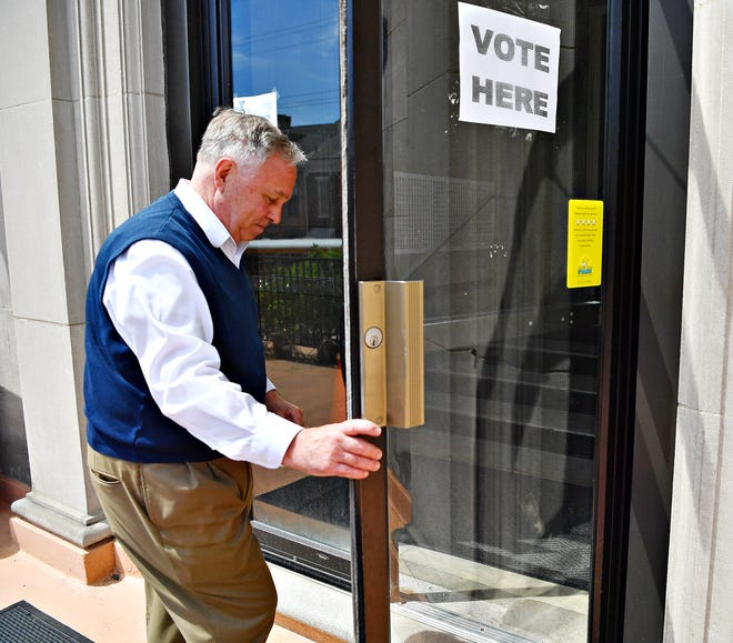 York County Commissioner Doug Hoke, who is running for reelection, arrives at the YMCA, York City 5 polling location, to cast his vote in York City, Tuesday, May 21, 2019. Dawn J. Sagert photo