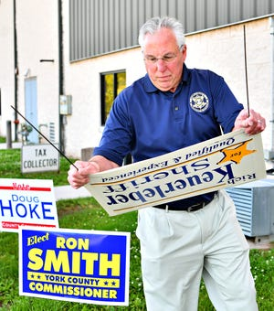York County Sheriff Rich Keuerleber campaigned outside his polling location on primary election day at Dover Township Community Center in Dover Township on May 21, 2019. (Dawn J. Sagert photo)