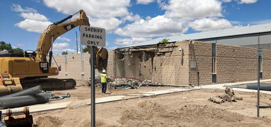 Demolition of the old Lyon County Public Safety Complex started Monday.