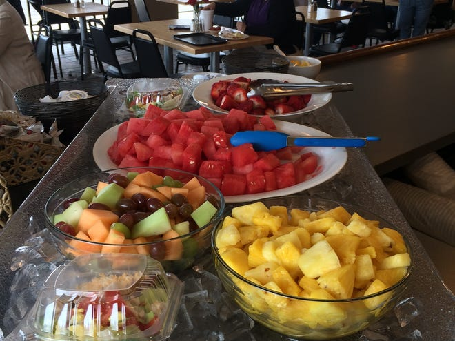 Fresh fruit is displayed on the counter inside Corner Cafe at the Leland.