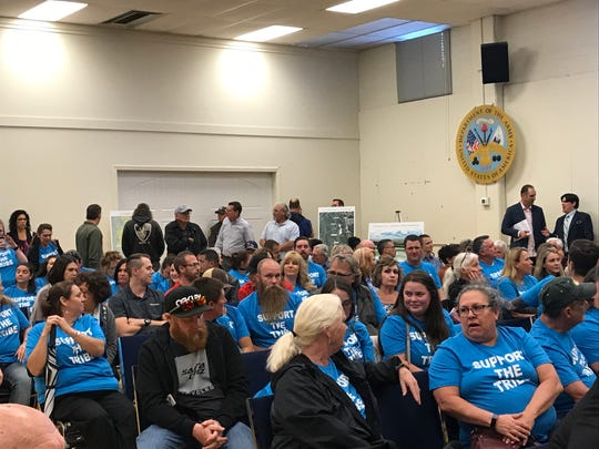 Supporters of a resort-casino by the Redding Rancheria turned out at public meeting in Redding on Monday night, May 20, 2019.