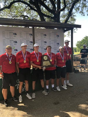 The Garden City High School boys golf team celebrates its team championship Tuesday, May 21, 2019, at Lions Municipal Golf Course in Austin. It was the second consecutive state championship for the Bearkat golfers.