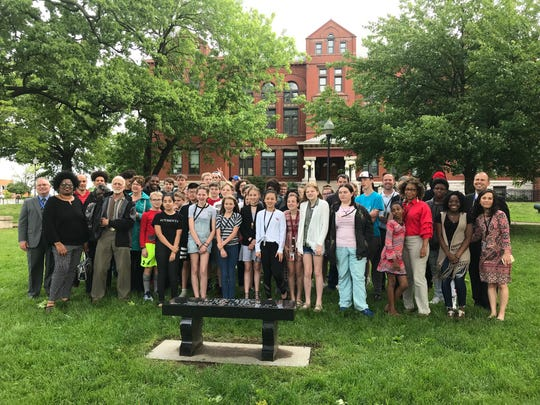 Central High School students gathered early Tuesday along with Springfield school officials and community members to dedicate a bench to 1961 graduate Linda Brown.