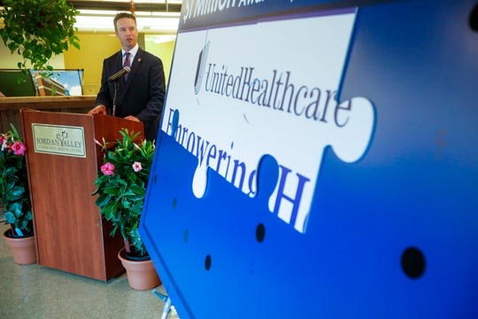 Missouri State Sen. Lincoln Hough speaks during a press conference announcing a $1 million grant from UnitedHealthcare on Tuesday, May 21, 2019.