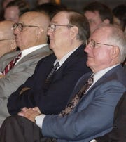 Former Missouri State University presidents (from left) Duane Meyer, Marshall Gordon and Arthur Mallory listen as Michael T. Nietzel speaks at a meeting in 2005 when it was announced Nietzel was the new president of SMSU.