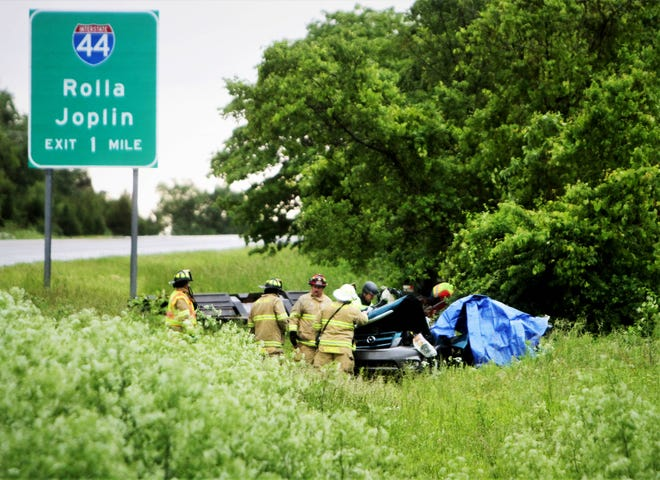 Emergency personnel respond to a crash along West Bypass and near North Westgate Avenue May 21, 2019.