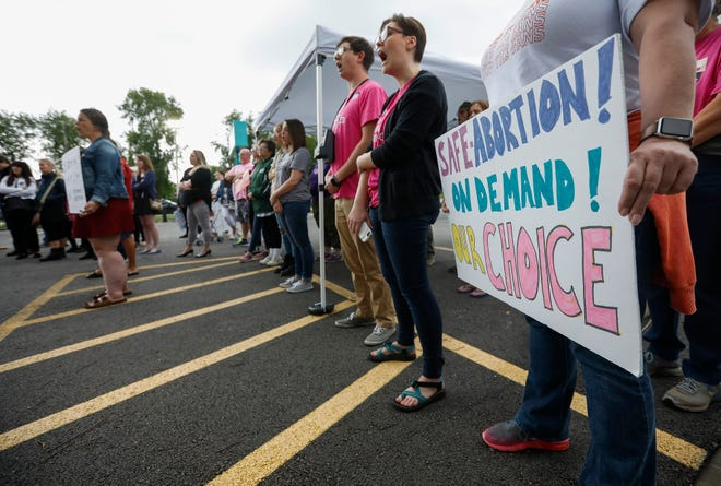 About 50 people attended a rally at Planned Parenthood on Battlefield Road on Tuesday, May 21, 2019 to show their support for the organization and voice their opposition to legislation that would ban abortion at 8 weeks in Missouri.
