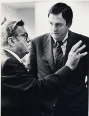 John Q. Hammons talks with SMSU President Marshall Gordon. News-Leader file photo.