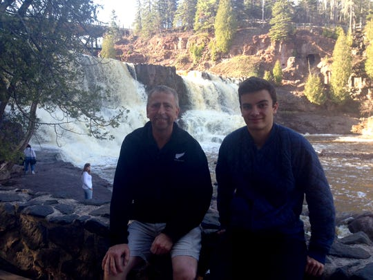 St. Cloud Mayor Dave Kleis and Alex Voigt, a German exchange student, visit Gooseberry Falls State Park in May 2014. Voit died in a plane crash in Sauk Rapids in June 2014.