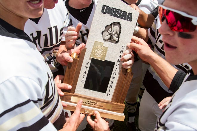 Desert Hills baseball claims the Utah 4A state title with a 16-3 victory over Dixie Tuesday, May 21, 2019.