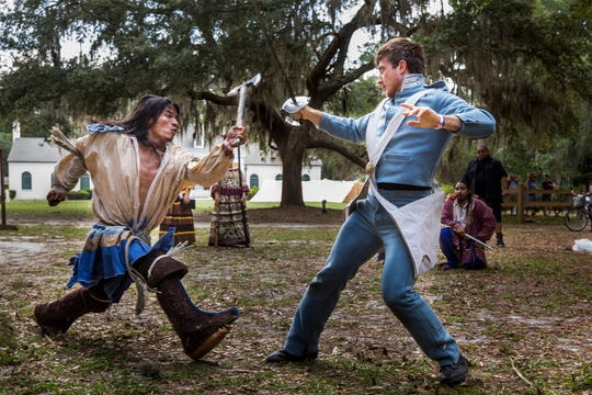 Seminole War weapons demonstration, Osceola's warrior legacy at the Folklife Stage during the Florida Folk Festival at Stephen Foster State Park at White Springs in 2017.