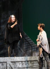 "L'Amour (Carolyn Hall) sends Orpheus (Katherine Kincaid) on the quest to rescue his wife from the underworld in ""Orphée et Eurydice."""