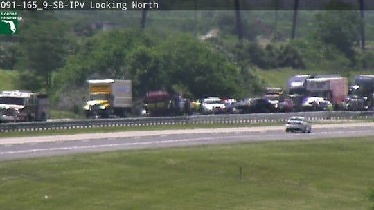 A crash on Florida's Turnpike closed southbound lanes in St. Lucie County about 1:45 p.m. Tuesday.
