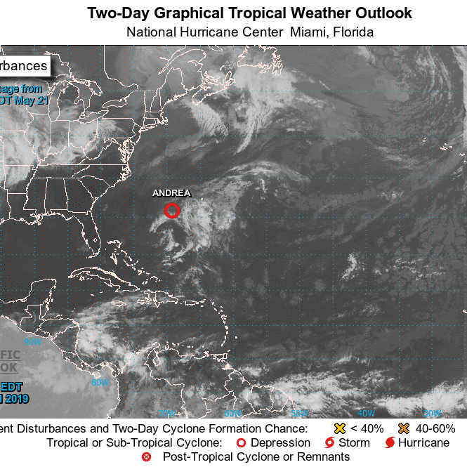Short-lived Andrea weakens into subtropical depression with 35 mph winds