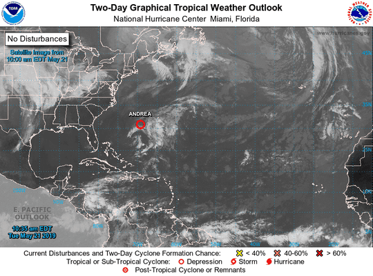 Subtropical Depression Andrea 10:35 a.m.  May 21, 2019.