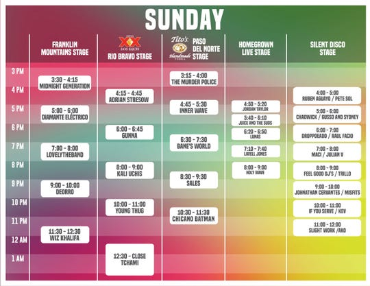 Neon Desert Music Festival Sunday schedule