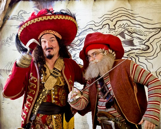 Ventura Harbor Village will host the 14th Annual Pirates Day June 1 which includes. professional Pirates for Hire. Here Captain Hook, left, is played by Rod Kindlund, and Smee, is played by Aaron Hartley.