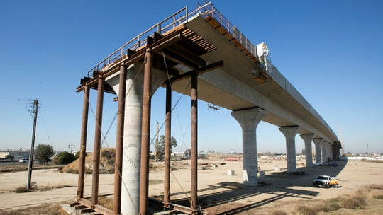 This Dec. 6, 2017, file photo shows one of the elevated sections of the high-speed rail under construction in Fresno.