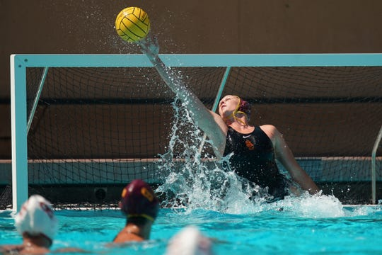 Senior Amanda Longan, an Oaks Christian graduate, made nine saves the USC women's water polo team's 9-8 loss to Stanford in the NCAA Division I national championship game on May 12.