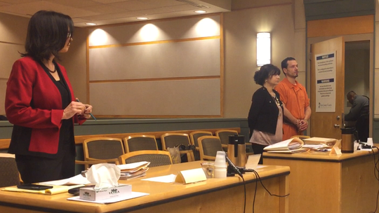 Millville murder defendant Michael N. Tedesco (far right) was in Cumberland County Superior Court on Tuesday for the first time since his arrest on April 19. He was ordered kept in jail pending trial. Tedesco stands with state Deputy public Defender Dinaz Akhtar. Assistant Prosecutor Joanna Vassallo (left) represented the state.