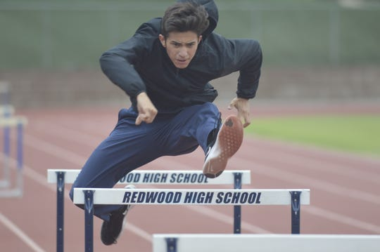 Redwood's Andrew Andrade is the 2019 Central Section champion in the boys 300-meter hurdles. He will be competing this weekend at the 101st CIF State Track & Field Championships in Clovis.