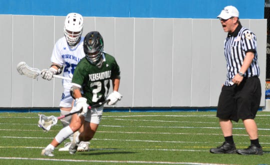 To slow down Bronxville face-off specialist Henry Donohue (21), Pleasantville countered with long-stick midfielder Ray Raefski, who won 12 of 25 draws and helped give the Panthers a key possession to start overtime.