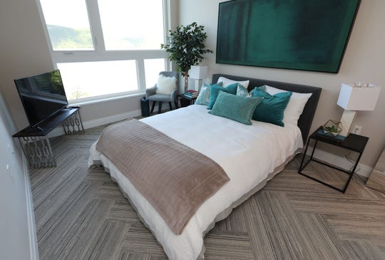 The bedroom in a one bedroom at The Stratus on Hudson, a new 74-unit rental apartment building on Warburton Avenue in Yonkers, photographed May 21, 2019.
