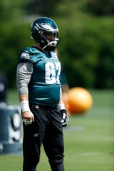 Philadelphia Eagles' Jason Kelce participates in a drill during organized team activities at the NFL football team's practice facility, Tuesday, May 21, 2019, in Philadelphia.
