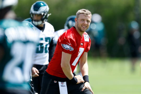 Philadelphia Eagles' Nate Sudfeld participates in a drill during organized team activities at the NFL football team's practice facility, Tuesday, May 21, 2019, in Philadelphia.