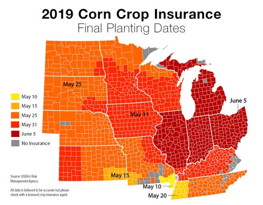 2019 Corn crop insurance final planting dates.