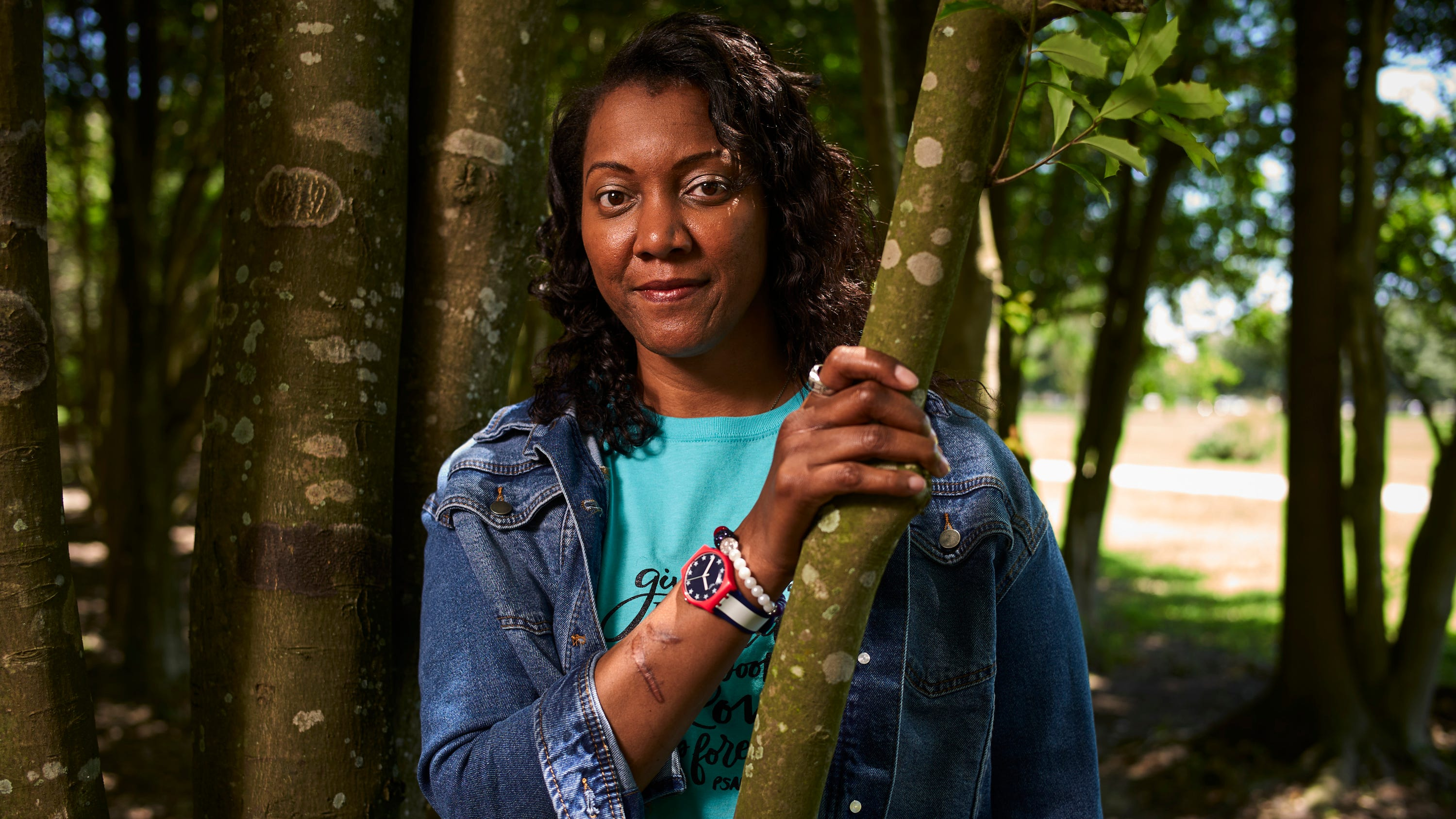 Former Olympic volleyball player Danielle Scott poses for a portrait in Baton Rouge, Louisiana, on May 14, 2019. S