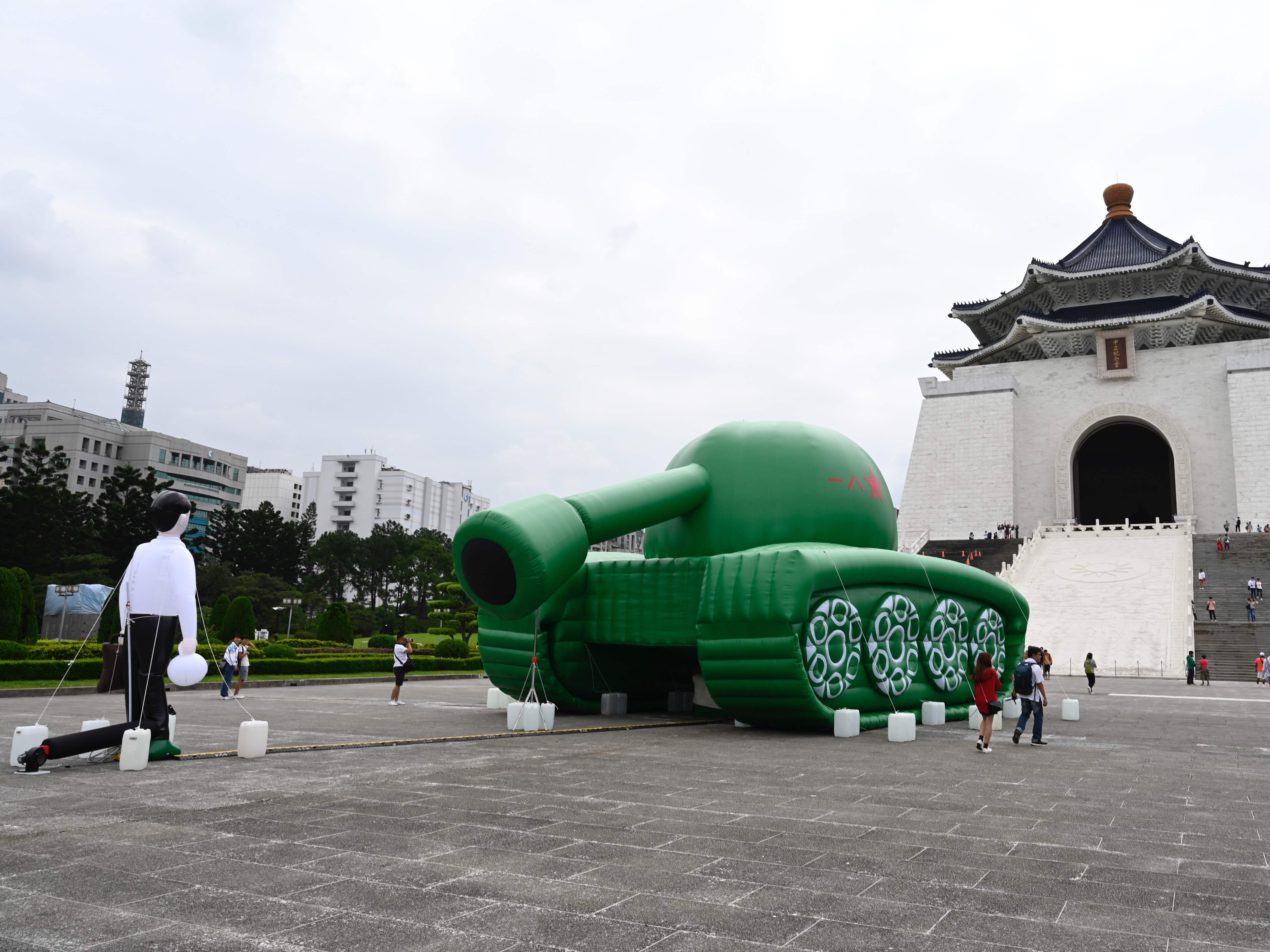 An artwork of Tank Man by dissident Chinese artist Baidiucao is on display in front of Chiang Kai-shek Memorial Hall in Taipei on May 21, 2019.