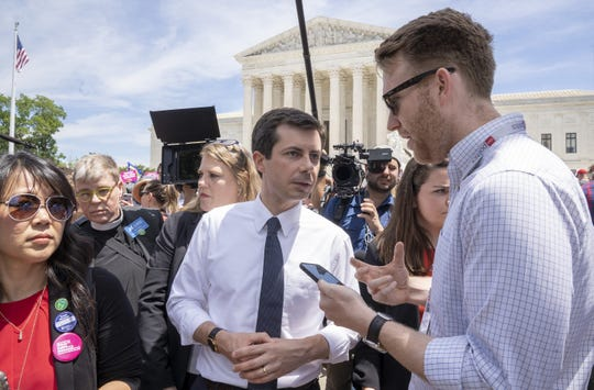Democratic presidential candidate Pete Buttigieg at a pro-choice rally at the Supreme Court on May 21, 2019, in Washington, D.C.